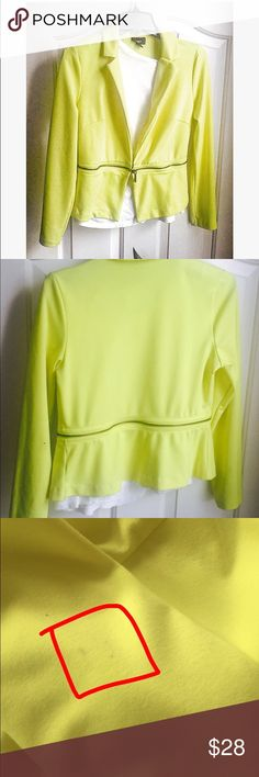 Neon Yellow blazer Bright yellow blazer featuring zipper detailing! Zipper part of jacket can be removed. No shoulder pads. No pockets. One clasp; can be clasp in the front. Material is 72% polyester 24% rayon 4% spandex. Size medium. Three small stains on right arm (as pictured above). Sleeves are full length. Mossimo Supply Co Jackets & Coats Blazers