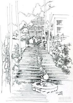 小明 2012 新作品 | 绘世界 Ink Pen Art, Ink Pen Drawings, Small Drawings, Cool Drawings, Line Art Projects, Black And White Sketches, Nature Drawing, Landscape Drawings, Urban Sketching
