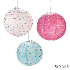 Donut Party Hanging Paper Lanterns: The paper lanterns feature stylish design and high quality. They can be used to hang for your donut-themed event. The sales unit is 6 pieces. It measures 12 Inch. Metal hangers are included. Paper Lanterns Party, Hanging Paper Lanterns, Large Lanterns, Fete Shopkins, Donut Party Supplies, Party Mottos, Donut Birthday Parties, Birthday Ideas, 2nd Birthday