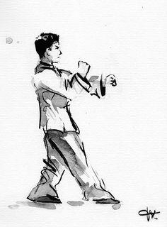 Encre de chine sur le thème du Wing chun (style de kung fu traditionnel) réalisée par Laurent Jargot (www.lo-design.net)