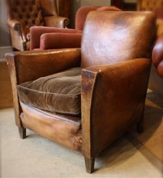 1930's Original French Leather Chair | Leather Chairs of Bath | Antique and Reproduction Leather Chairs, Sofas and Furniture