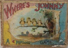Antique 1890's McLoughlin Bros. Where's Johnny Game