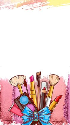 ads ads This graphic is about Hair and Beauty, colorful cartoon cosmetics with blue bow tie in the pink and white background. More free backgrounds… Makeup Backgrounds, Makeup Wallpapers, Flower Backgrounds, Cute Wallpapers, Episode Backgrounds, Flower Background Wallpaper, Paint Background, Beauty Background, Background Pictures