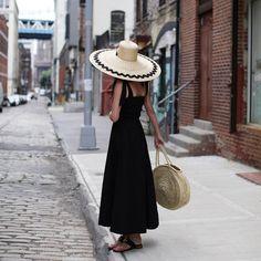 Little black dress // simple summer style #shopit #doen #hatlove #summer #summerstyle #blackdress