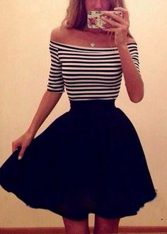 Cute off the shoulder striped dress