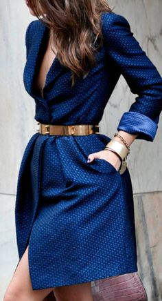 #street #fashion blue dress + gold @wachabuy