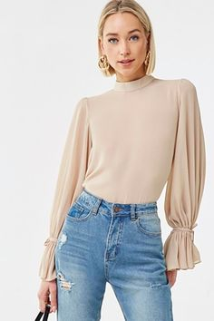 New Arrivals: Dresses, Jeans + Classic Outfits, Stylish Outfits, Fashion Outfits, Classic Clothes, Fashion Ideas, Sheer Chiffon, Chiffon Tops, Bodysuit Blouse, Perfect Fall Outfit