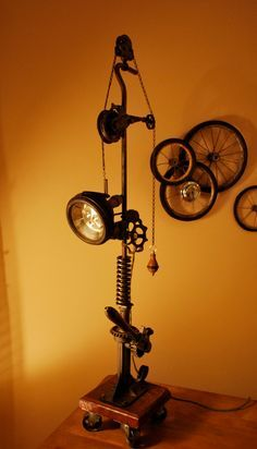 Motorcycle Decor - Recycled Motorcycle ART/Lamp and Wall Decor