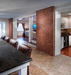 Bricked interior kitchen wall to add interest to space