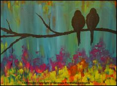 HANGIN' IN A TREE at Saratoga Paint and Sip Studio—We love birds, bright colors, and THIS PAINTING!!!