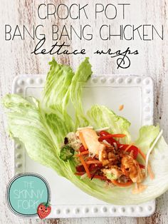 Crock Pot Bang Bang Chicken Lettuce Wraps // healthy, flavorful and fresh for game day and after work #slowcooker #skinny