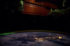 #aurora in the north, #SanFrancisco #LA to the south and moon glow on the solar arrays.