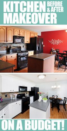BEFORE & AFTER of kitchen cabinet makeover. Boring builder grade cabinets to white. Crazy difference!