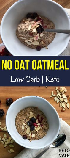 Low Carb Keto No Oats Oatmeal recipe with Flaxseed meal, Almond Milk, Hemp Hearts, Chia Seeds, MCT Oil
