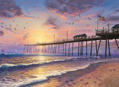 """Thomas Kinkade Footprints in the Sand Cross Stitch Pattern***L@@K***YOUR FINISHED PATTERN SIZE. 280 Stitches x 210 Stitches 20.0"""" X 15.0"""" ON (14 COUNT) AIDA CLOTH. ~~ I SEND WORLD-WIDE ~~Free"""
