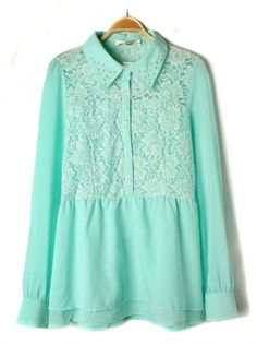 blue long sleeve hollow out lace chiffon dress