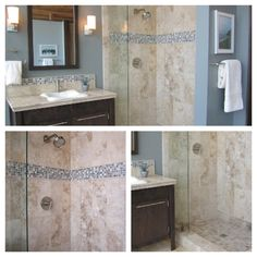 Travertine bathroom with glass mosaic accent