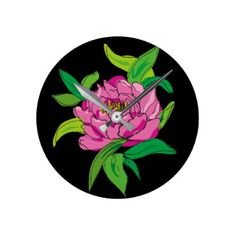 #Pink Peony on Black Round Clock - #giftsforher #gift #gifts #her