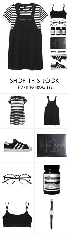 """""""Aesthetic"""" by via-m ❤ liked on Polyvore featuring Monki, adidas, Aesop, T By Alexander Wang, Ole Mathiesen, Spring, white, black, stripes and spring2016"""