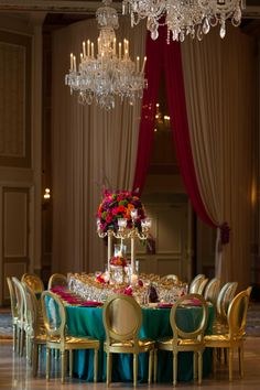 Special event decor featuring vibrant gold, teal and fuchsia colors and beautiful floral decor with gold candelabras. Teal And Grey Wedding, Floral Wedding, Wedding Colors, Wedding Styles, Pink Wedding Decorations, Centerpiece Decorations, Stage Decorations, Wedding Themes, Wedding Cakes