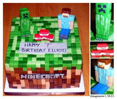 """Minecraft Cake #3 - 8"""" white cake, vanilla bean frosting with strawberries and stabilized whipped cream. One thing I learned is to keep extra icing on hand, or be good at measuring, to make the squares fit evenly."""