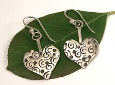Sterling Polka Dot Spiral Heart Earrings by katherinefathisilver