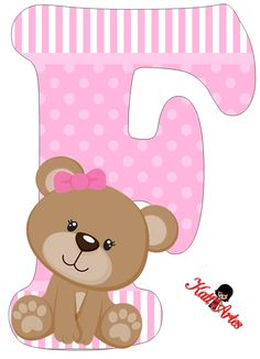 Alfabeto de tierna osita con fondo rosa. | Oh my Alfabetos! Alphabet For Kids, Alphabet And Numbers, Alphabet Letters, Moldes Para Baby Shower, Baby Shower Clipart, Alphabet Templates, Bear Party, Scrapbooking, Paper Flower Backdrop