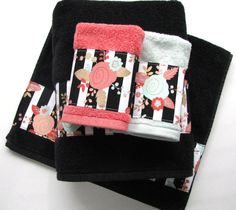 Hey, I found this really awesome Etsy listing at https://www.etsy.com/listing/271895938/coral-mint-black-towels-hand-towels-bath