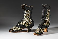 François Pinet manufactured some of the most exquisite footwear worn by the most elegant during the second half of the 19th century. Much of his footwear was factory-made but he also employed seven hundred embroiderers who labored in less than comfortable conditions creating botanically accurate floral embroidery.