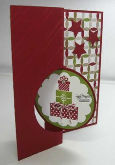 Circle Thinlit, Stampin' Up! Details are at boy Stamped Christmas Cards, Christmas Card Crafts, Xmas Cards, Holiday Cards, Flip Cards, Fun Fold Cards, Cool Cards, Card Making Inspiration, Making Ideas