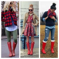 So many ways to wear the Military Red Hunter Boots. Wearing red will be easier than you think! #red #hunterboots