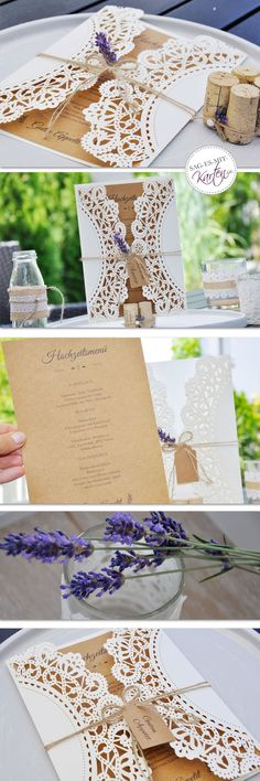 Hochzeit Menükarte Vintage Lasercut Spitze mit Kraftpapier und Lavendel Place Cards, Place Card Holders, Kraft Paper, Thanks Card, Lavender, Lace