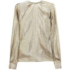 Stella McCartney Wise metallic silk-blend top ($590) ❤ liked on Polyvore