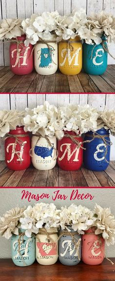 Absolutely LOVE these mason jars customized with my home state. Perfect for farmhouse decor. #farmhouse #ad #housewarminggift #giftideas #rusticdecor