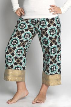 NEELIMA Capri PUNJAMMIES™ by International Princess Project. Handmade for women by women with hope from India. We advocate for women enslaved in prostitution; Restore their broken lives; and, Empower them to live free. Read our story here: www.punjammies.com #fashion #punjammies #pajamas #women #cuteclothes #india #gifts #beach #coverup #lounge #pants #endit #endhumantrafficking