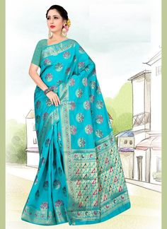 Art Silk Weaving Aqua Blue Casual Saree Blue Art, Aqua Blue, Celebrity Gowns, Trendy Sarees, Net Saree, Casual Saree, Latest Sarees, Weaving Art, Traditional Sarees