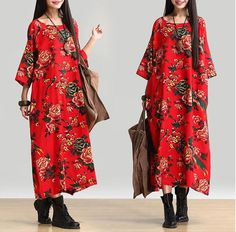Cotton and linen . 1/2 Sleeve Loose Fitting Shoulder sleeve One Size Length: 124 cm / 48.82 Inch Shoulder sleeve: 47 cm / 18.50 Inch Bust: 144 cm / 56.69 Inch