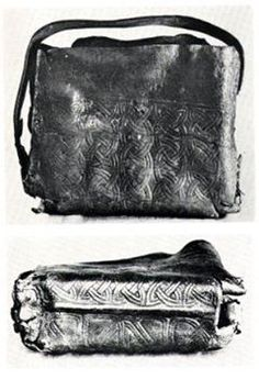 Here are a couple of pictures of an early irish bag, roughly 9th/10th century. Tools needed...Awl...that is all. Lines appear to be impressed in using a pointed tool that isn't too sharp, such as a blunt awl.