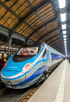 "High Speed Train ""Pendolino"" at Wroclaw Main Railway Station, Poland"
