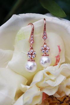 Rose Gold and White Swarovski Crystal Pearl by AuroraJewelryBox