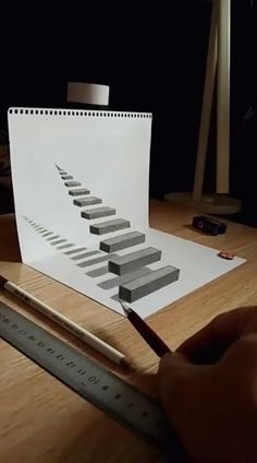 3d Pencil Drawings, 3d Art Drawing, Art Drawings Sketches Simple, Easy Drawings, Object Drawing, Drawing Step, Drawing Ideas, Animal Drawings, Interior Architecture Drawing