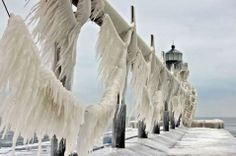 This is the St. Joseph Lighthouse on Lake Michigan. After a storm in January 2014, it's encased in ice. The Midwest was hit with wind chills that reached -50 degrees that day.
