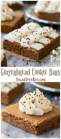 Soft and chewy Gingerbread Cookie Bars are decorated with cream cheese frosting and sprinkles! These are a fun festive treat for the holidays. Healthy Gingerbread Cookies, Chewy Gingerbread Cookies, Gluten Free Gingerbread, Gingerbread Houses, Chocolate Chip Cookies, Brownie Mix Cookies, Cookie Bars, Almond Cookies, Bar Cookies