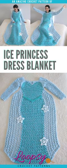 Crochet your very own Ice Princess Dress Blanket for Adults with these easy-to-read directions. This pattern features long sleeves as well as a fingerless glove attachment. Fits Adults size Medium with instructions on how to make it longer if need be. https://goo.gl/ajP5pJ