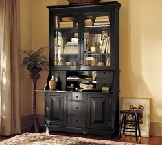 Graham Bar & Hutch {Pottery Barn} - The versatility is brilliant -- can be used as a bar or work desk. Definitely going in my future house! Secretary Desk With Hutch, Desk Hutch, Secretary Desks, Sideboard, Black Furniture, Home Furniture, Office Furniture, Painted Furniture, Furniture Ideas