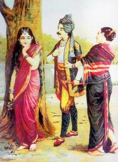 Dushyanta and Shakuntala - Love at First Sight (Reprint on Paper - Unframed))