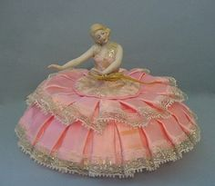 Antique German Porcelain Bisque Arms Away Pin Cushion Half Doll Figurine | eBay