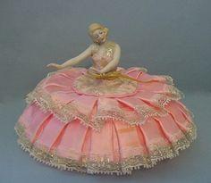 Antique German Porcelain Bisque Arms Away Pin Cushion Half Doll Figurine   eBay