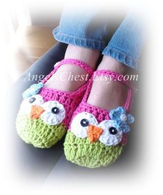 PDF Crochet Pattern Owl Mary Janes Slippers Sizes Preteen to Adult No. 17. $6.99, via Etsy.