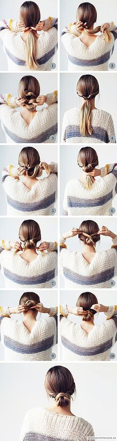"Low Messy Bun Step-By-Step: super easy hair tutorial, on how to achieve this eas., Easy hairstyles, "" Low Messy Bun Step-By-Step: super easy hair tutorial, on how to achieve this easy updo. Source by annakneivel. Hair Styles 2016, Curly Hair Styles, Short Hair Bun, Low Bun Hairstyles, Trendy Hairstyles, Work Hairstyles, Popular Hairstyles, Beautiful Hairstyles, Professional Hairstyles"